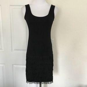 BB Dakota Fringe Black Tank Dress